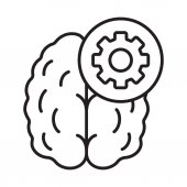 Practical mind linear icon Technical thinking thin line illustration Human brain with cogwheel contour symbol Vector illustration