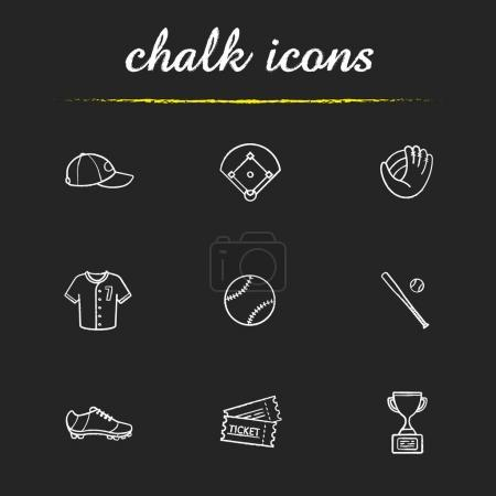 Baseball accessories chalk icons set