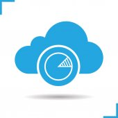 Cloud hosting statistics icon Drop shadow diagram silhouette symbol Cloud computing Negative space Vector illustration
