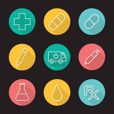 Hospital fla icons set