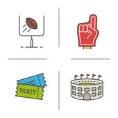 American football color icons set Red foam finger game tickets baseball arena goal sign Isolated vector illustration