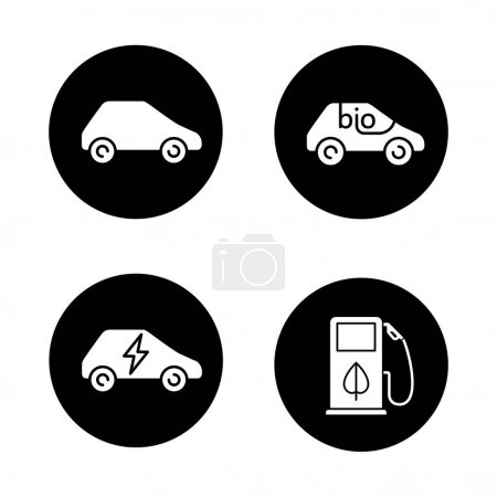 Eco friendly cars icons set