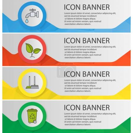 Illustration for Environment protection banner templates set. Plant, water resources, cleaning and recycle service website menu items. Color polygonal web banner concepts. Vector  illustration - Royalty Free Image