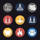 Oil industry flat design long shadow icons set Pump jack barrels pipe valve gas and fuel production platforms oil reservoir flammable sign industrial workers Vector illustration