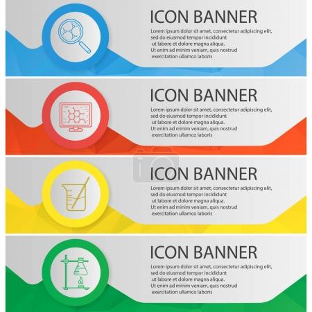 Chemical laboratory banner templates set