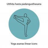 Utthita hasta padangusthasana yoga position Linear icon Thin line illustration Yoga asana contour symbol Vector isolated outline drawing