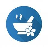 Spa salon mortar and pestle Flat design long shadow icon Aromatherapy Vector silhouette symbol