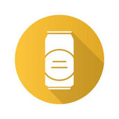 Beer can flat design long shadow icon Vector silhouette symbol