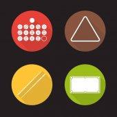 Billiard equipment flat icons set