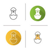 Newborn chicken icons Flat design linear and color styles Nestling in egg shell Isolated vector illustrations