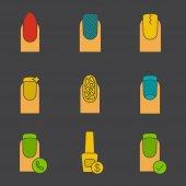 Manicure icons set