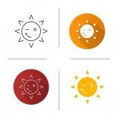 Winking sun smile icons