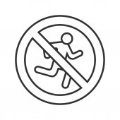 Forbidden sign with running man icon