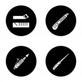 Construction tools glyph icons set Mitre box handle pad saw stationery knife air-operated valve grinder Vector white silhouettes illustrations in black circles