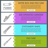 Construction tools web banner templates set Mitre box and handle pad saw air-operated grinder stationery knife Website color menu items with linear icons Vector headers design concepts