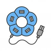 Flower shape USB hub color icon Isolated vector illustration