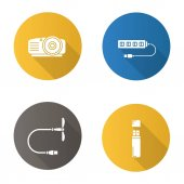 Gadgets flat design long shadow glyph icons set Projector USB fan and hub memory stick Vector silhouette illustration
