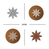Anise icon Flat design linear and color styles Isolated vector illustrations