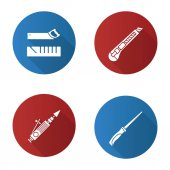 Construction tools flat design long shadow glyph icons set Mitre box handle pad saw stationery knife air-operated valve grinder Vector silhouette illustration