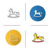 Rocking horse icon Flat design linear and color styles Isolated vector illustrations