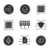 Cryptocurrency glyph icons set Binary code mining digital data ethereum cybersecurity stratis ethereum and dashcoins Silhouette symbols Vector isolated illustration