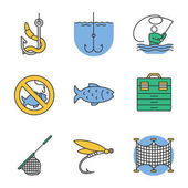 Fishing color icons set No fishing sign tackle box landing nets fly fishing fish live bait fishhook Isolated vector illustrations