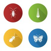 Insects flat design long shadow glyph icons set Cockroach caterpillar butterfly stink beetle Vector silhouette illustration