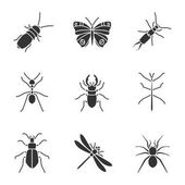 Insects glyph icons set Darkling beetle butterfly earwig stag and ground bugs phasmid ant dragonfly spider Silhouette symbols Vector isolated illustration
