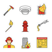 Firefighting color icons set