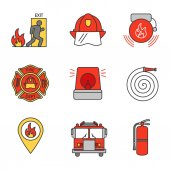 Emergency exit hard hat alarm bell fireman siren fire location extinguisher firetruck firefighter badge hose color icons isolated on white background