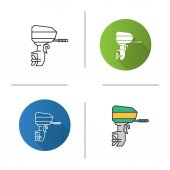 Outboard boat motor icon Flat design linear and color styles Boat engine Isolated vector illustrations