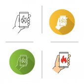 Fire emergency calling icon Flat design linear and color styles Hand holding smartphone with flame Isolated vector illustrations