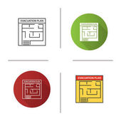 Evacuation plan icon Flat design linear and color styles Fire escape plan Isolated vector illustrations