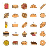 Bakery color icon Pastry Confectionery Bread buns cookies macaron pancakes Isolated vector illustration