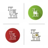 Cat's tree house icon Flat design linear and color styles Pets furniture Scratching post Isolated vector illustrations