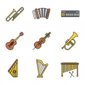 Musical instruments color icons set Trombone accordion mellotron guitar cello flugelhorn gusli harp marimba Isolated vector illustrations