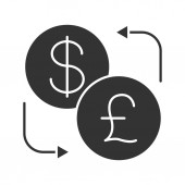 currency exchange of Dollar and British pound flat icon vector illustration