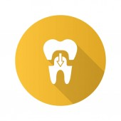 Dental crown with down arrow flat design long shadow glyph icon Tooth restoration Vector silhouette illustration
