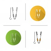 Grill skewer and tongs icon flat design linear and color styles