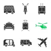 Public transport glyph icons set: Double decker bus scooter trolleybus taxi tram helicopter auto rickshaw minivan airplane