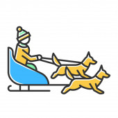 Dog sledding color icon Winter extreme sport risky activity and adventure Sleigh riding Cold season outdoor leisure Person dogsledding Group of husky and musher Isolated vector illustration