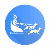 Dog sledding blue flat design long shadow glyph icon Winter ext