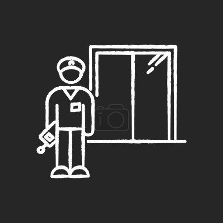 Illustration pour Night dorm watchman chalk white icon on black background. Security guard. Residential hall employee. Hotel security. Elevator operator. University warden. Isolated vector chalkboard illustration - image libre de droit