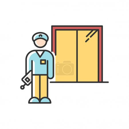 Illustration pour Night dorm watchman RGB color icon. College dormitory janitor. Security guard. Residential hall employee. Hotel security. Elevator operator. Liftman. University warden. Isolated vector illustration - image libre de droit
