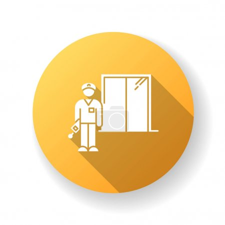 Illustration pour Night dorm watchman yellow flat design long shadow glyph icon. College dormitory janitor. Security guard. Hotel security. Elevator operator. University warden. Silhouette RGB color illustration - image libre de droit