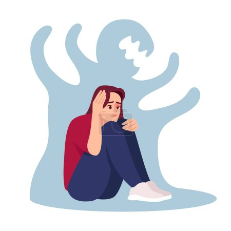 Illustration for Girl with schizophrenia semi flat RGB color vector illustration. Stressed woman isolated cartoon character on white background. Emotional pressure, mental disorder. Depressed girl with anxiety - Royalty Free Image