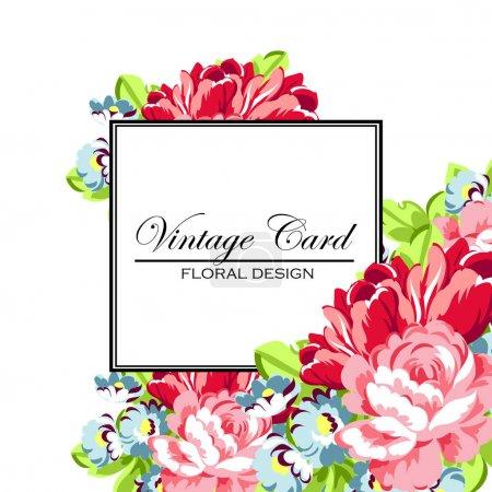 Illustration pour Illustration vectorielle de beaux ornements de fleurs pour invitation vintage - image libre de droit