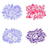 Vector set of different colorful flowers