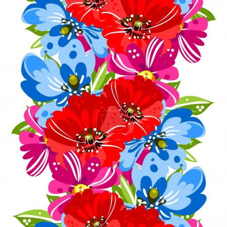 Illustration for Elegance pattern with colorful tender flowers. vector illustration - Royalty Free Image