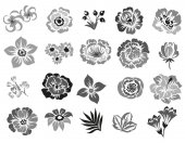 Set of four ornate flower bouquets isolated on white background